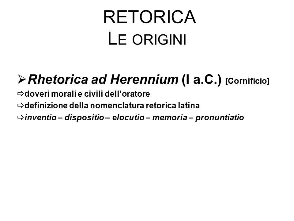 Retorica Le origini Rhetorica ad Herennium (I a.C.) [Cornificio]